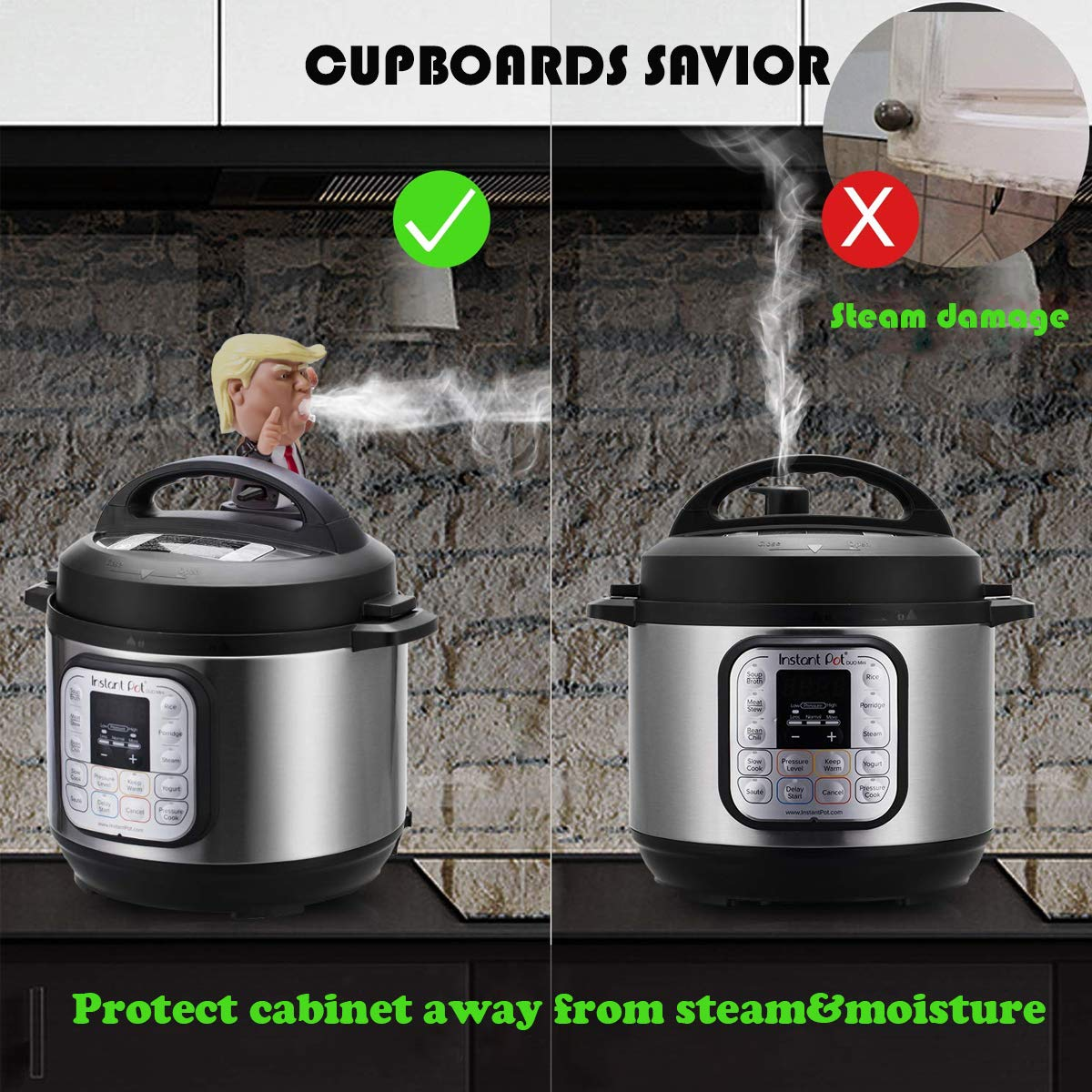 Steam Diverter Silicone Steam Release Diverter Pressure Accessories Cabinets Savior Compatible with Instant Pot Pressure Cooker Fit All Size of Duo Ultra Smart Models