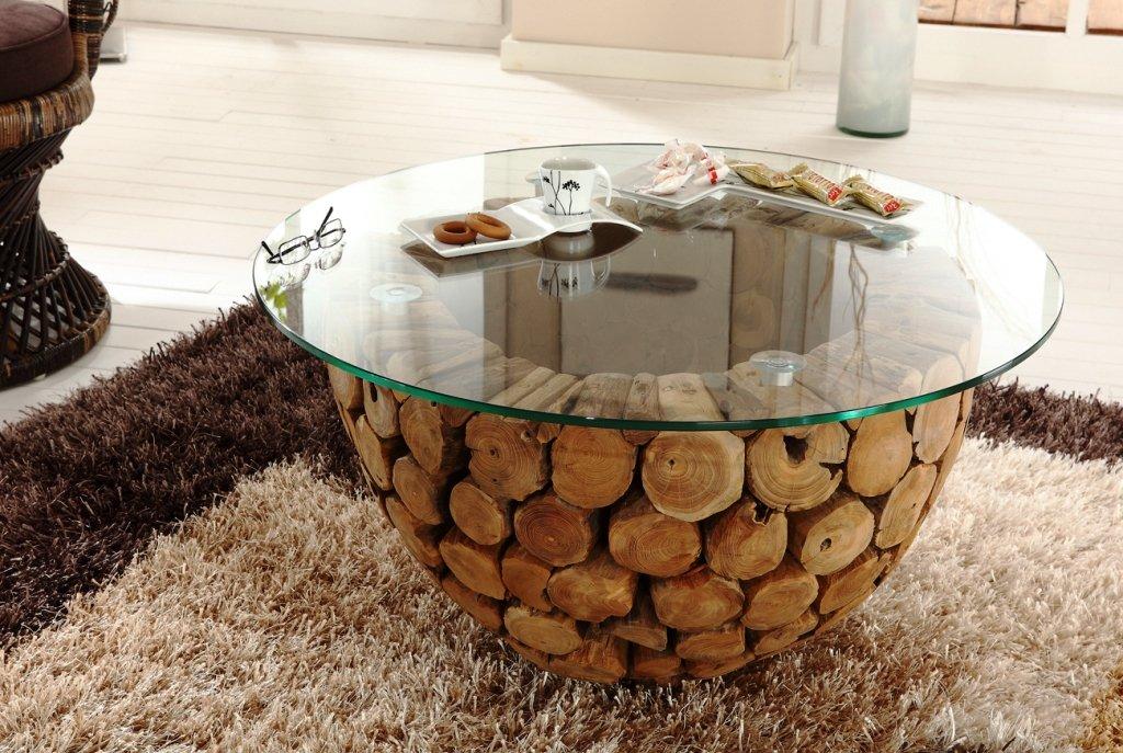 Wohnzimmer Tisch Holz-Unikat Massiv Holti: Amazon.De: Küche & Haushalt
