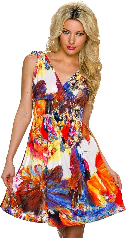 Damen Kleid Sommerkleid Cocktailkleid Partykleid Strandkleid Blumendruck V-Ausschnitt