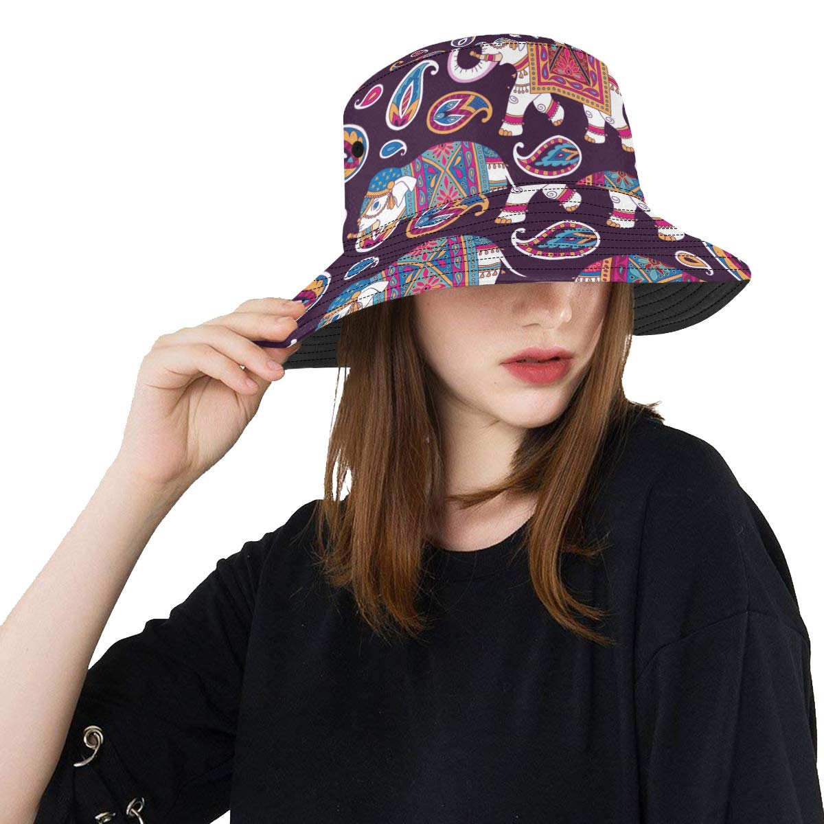 Indian Ornament Graphic Elephant New Summer Unisex Cotton Fashion Fishing Sun Bucket Hats for Kid Teens Women and Men with Customize Top Packable Fisherman Cap for Outdoor Travel
