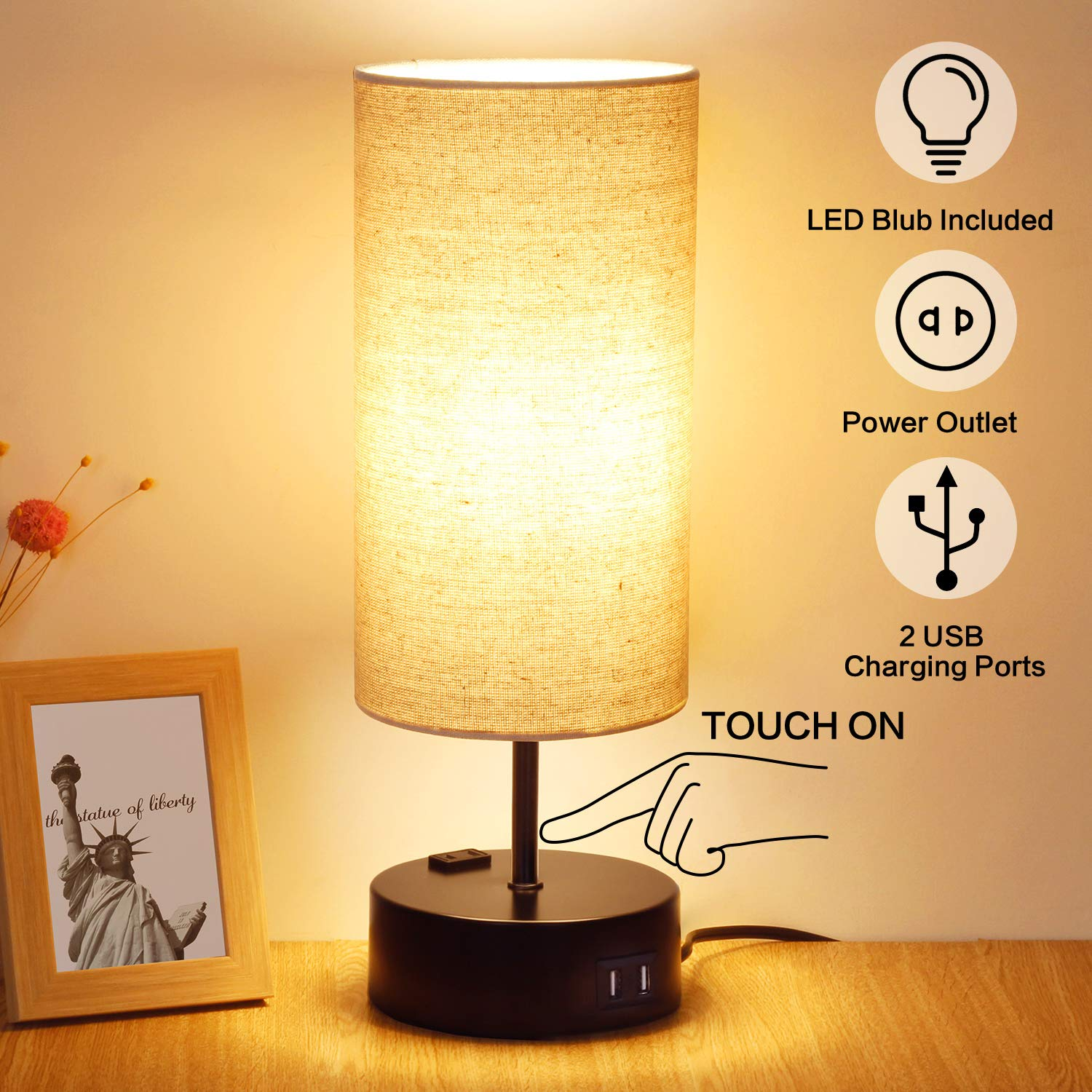 3 Way Dimmable Touch Table Lamp, 2 Fast Charging USB Ports with Power Outlet. Bedside Touch Lamp, Nightstand Lamp, Bedroom Lamp for Bedroom, Living Room, Office, 60W Equivalent LED Bulb Included by SHINE HAI