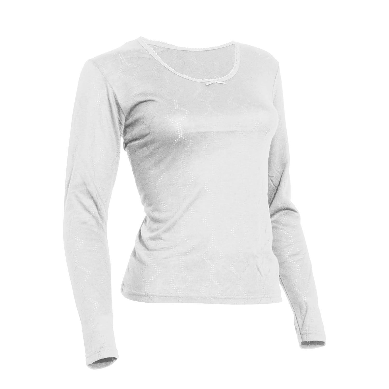 TALLA Pecho 117-122cm (50-52). Floso - Camiseta térmica Interior de Manga Larga de Viscosa para Mujer