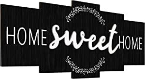 Home Sweet Home Sign, Rustic Wood Home Wall Decor, Large Farmhouse Home Sign Plaque Wall Hanging for Bedroom, Living Room, Wall, Wedding Decor (Retro Color)