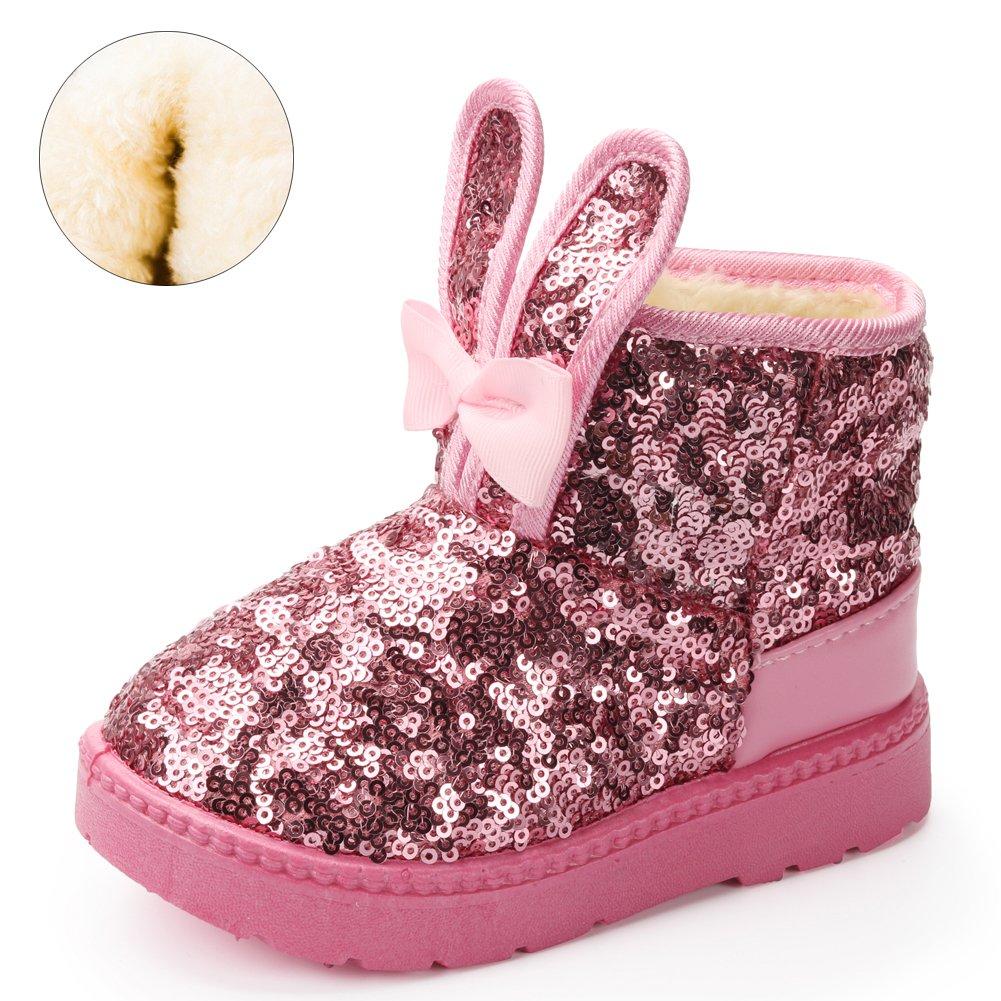 Blue Line Girls Boots, Bunny Kid Boots Warm Winter Sequin Waterpoof Outdoor Snow Boots (Toddler/Little Kids)