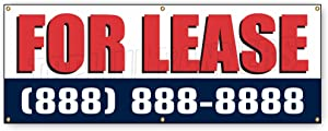 1.5 ft x 4 ft FOR LEASE BANNER SIGN commercial space phone number blue red …