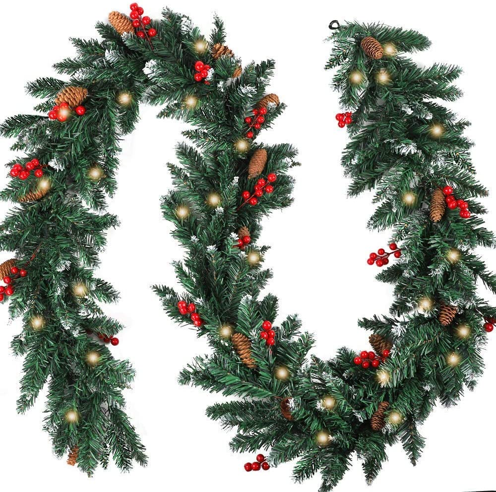 Whonline 9 Foot by 10 Inch Christmas Garland with Lights Red Berries Pinecones Garland Warm White LED for Christmas Holiday Home Party Decor
