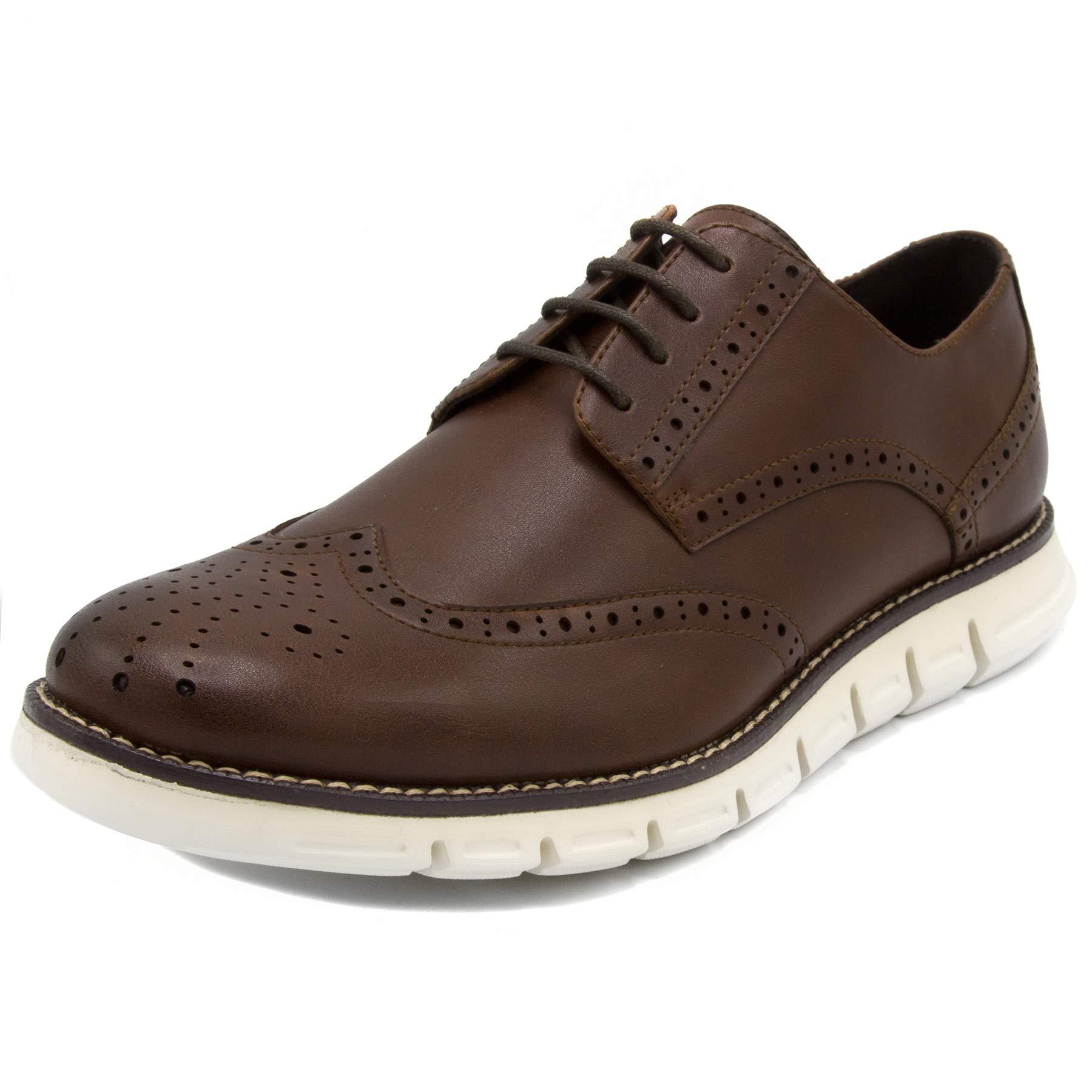Nautica Men's Wingdeck Oxford Shoe Fashion Sneaker-Brown Smooth/White-13