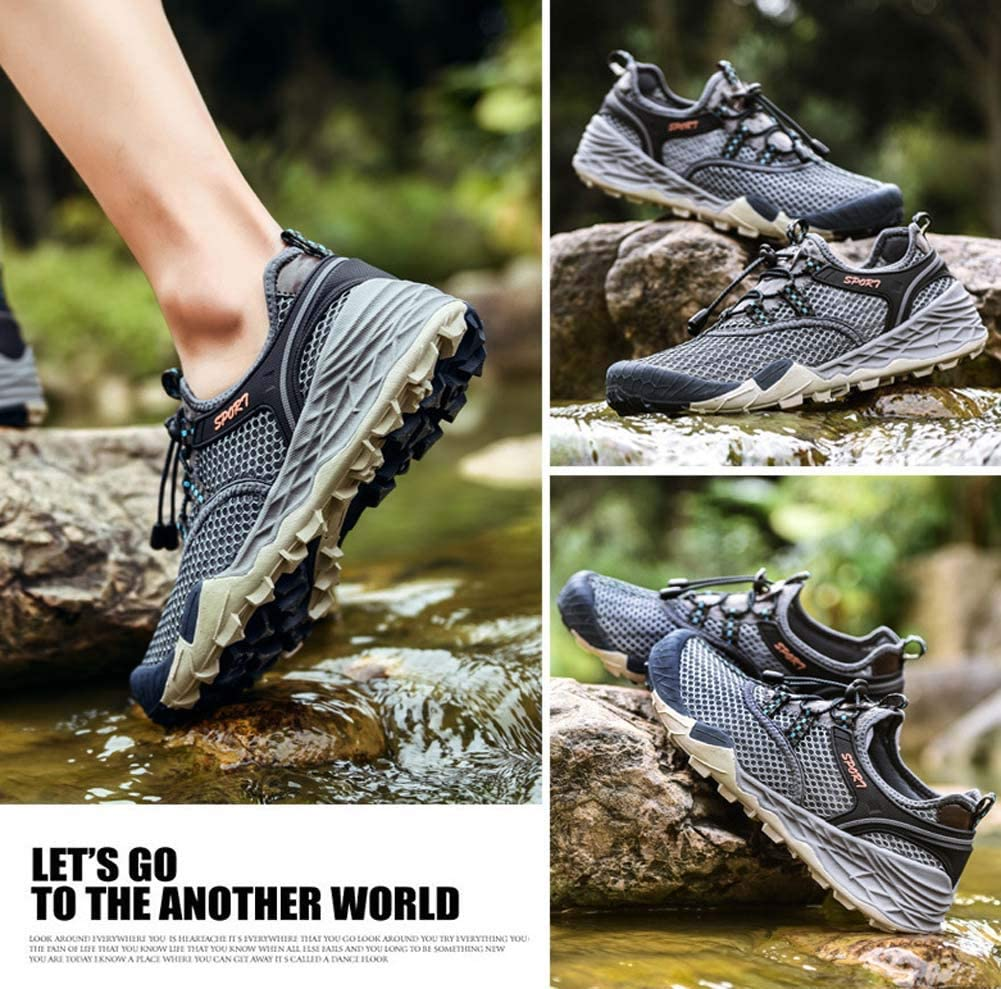 Men Hiking Shoes,Outdoor Mesh Casual Shoes Breathable Wearable Hiking Sneaker Light and Quick-Drying Running Shoes,Gray,38EU