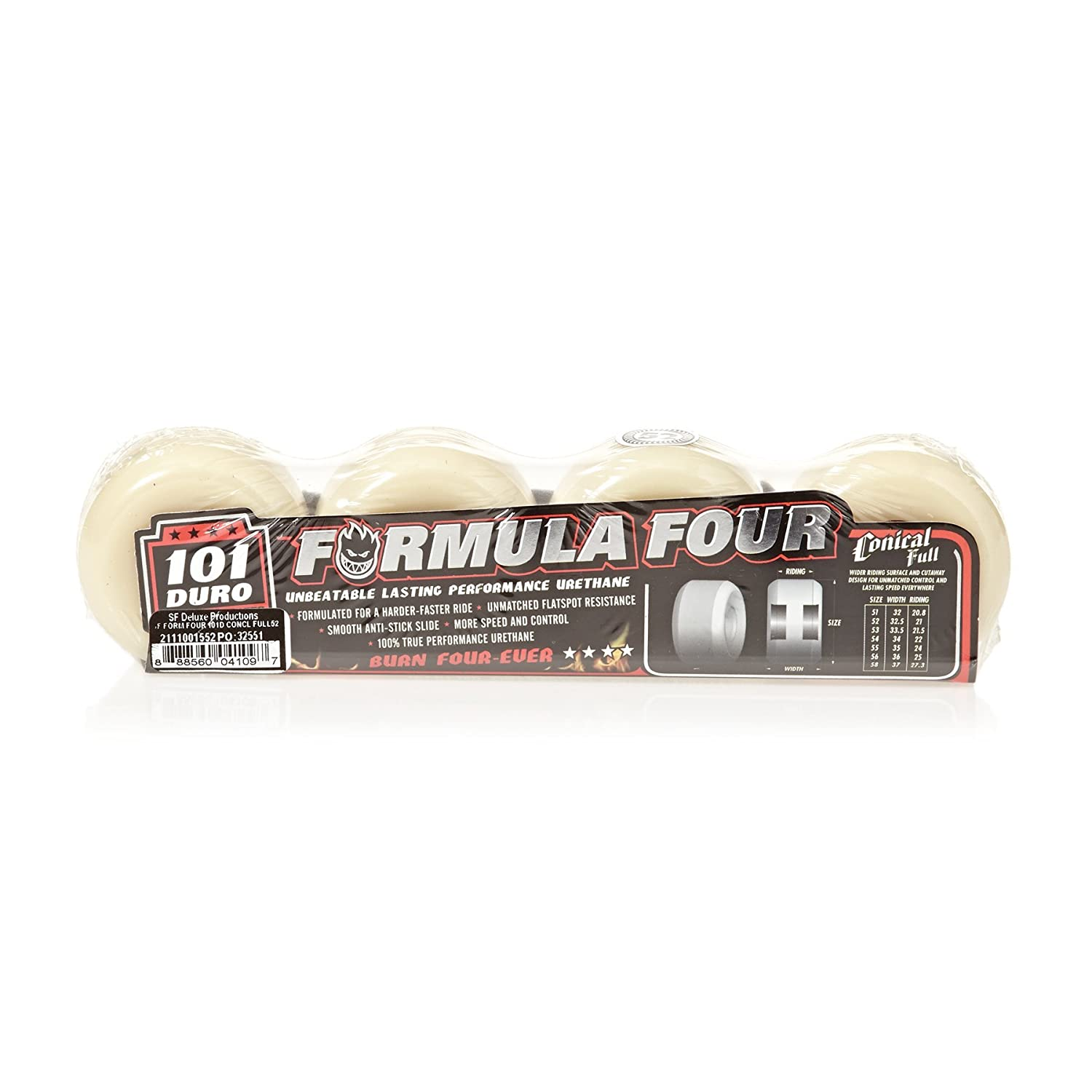 Spitfire Formula Four 101a Conical Wheels White//Red 52mm