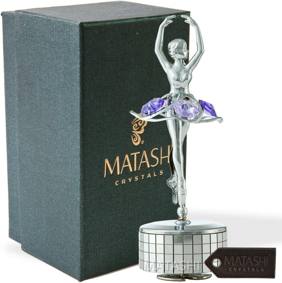 Matashi Chrome Plated Ballet Dancer Wind-Up Music Box with Purple Crystals, Home Bedroom Decor Tabletop Ornaments Gift for Musician Wife Mother's Day Christmas Valentine's Day Birthday(Swan Lake)