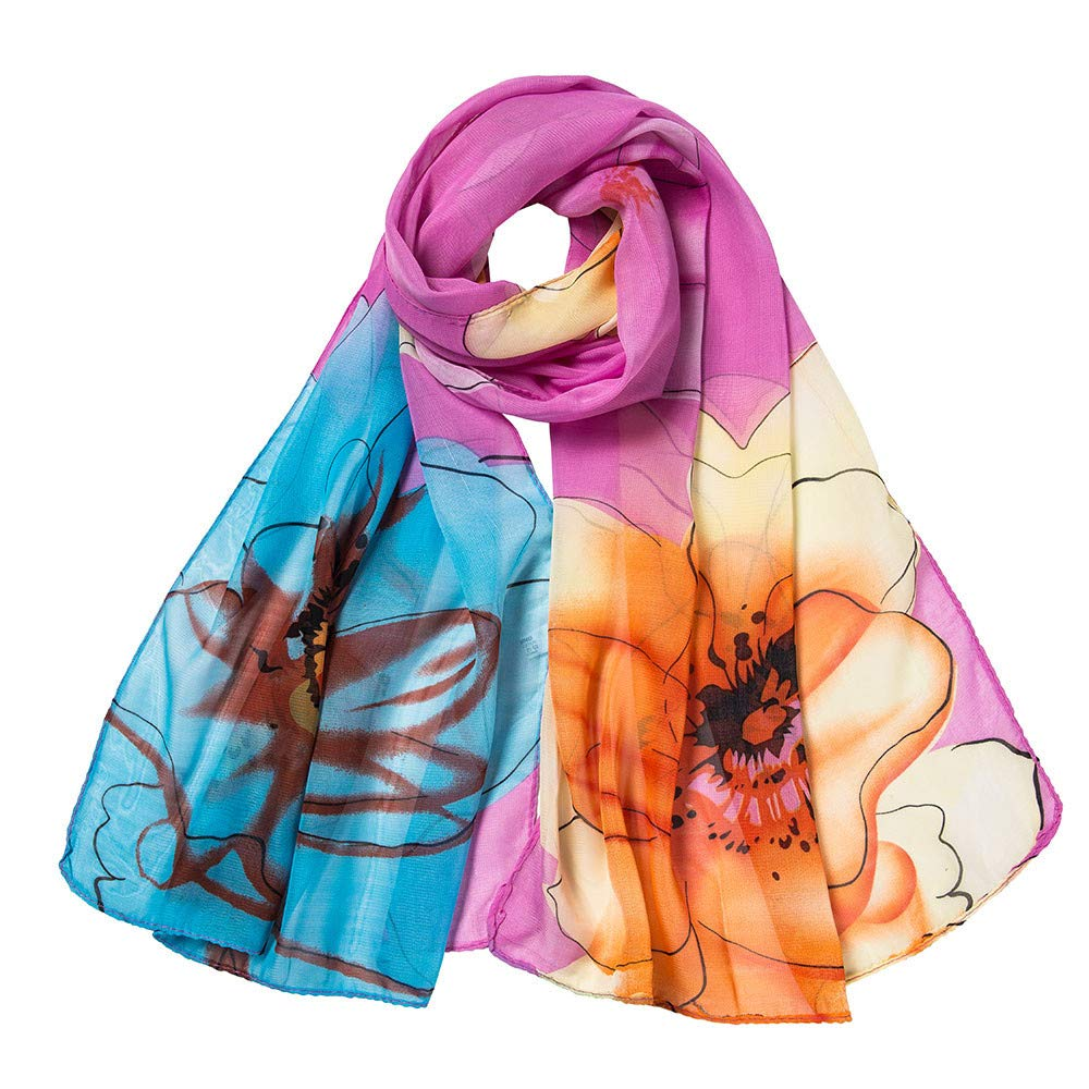 Xmiral Women Scarf Fashion Flower Printing Long Soft Wrap Elegant glamorous Scarf Shawl Scarves