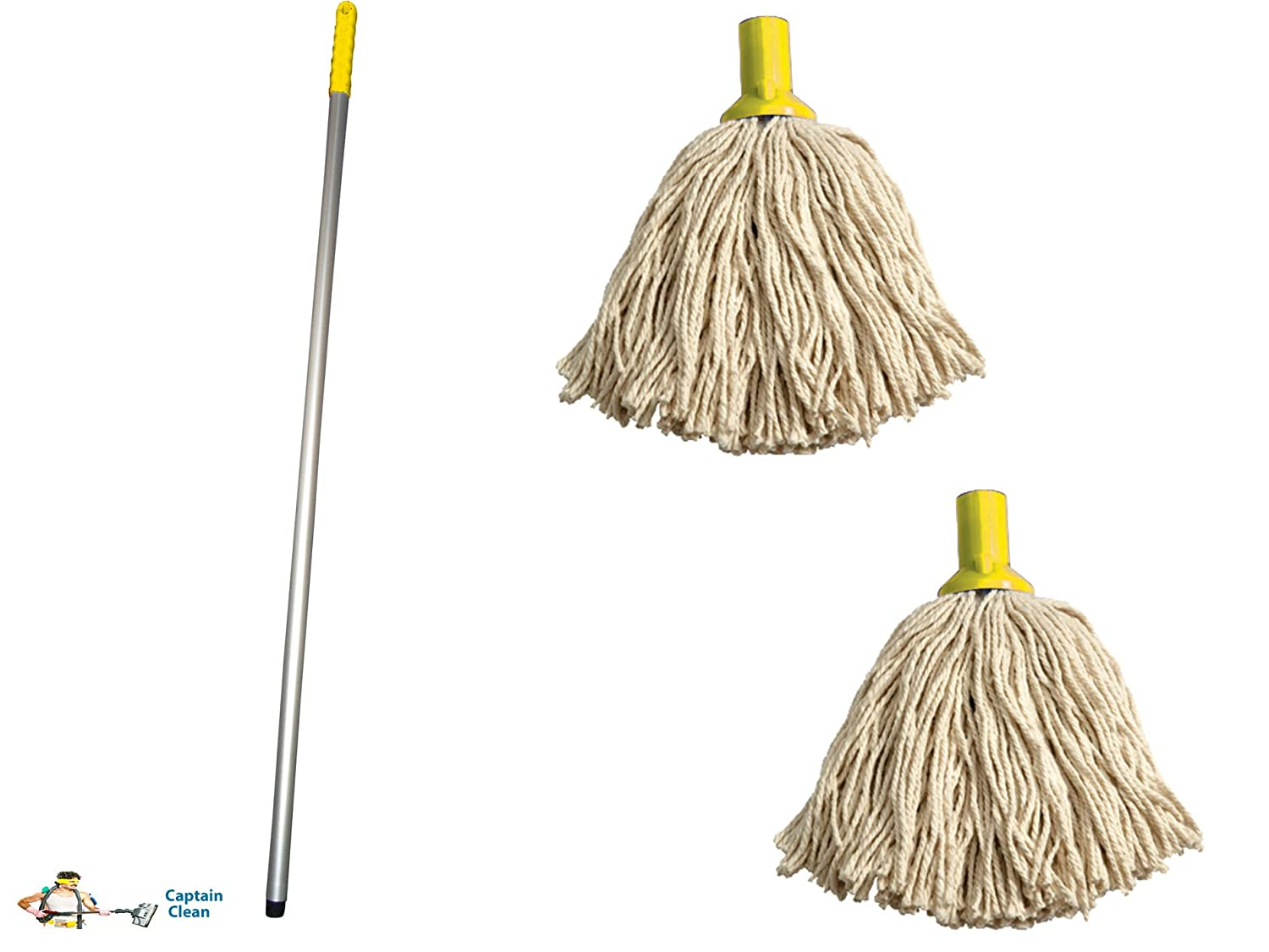 Professional Colour Coded Mop Handle and 2 Mop Heads - Colour Yellow ...