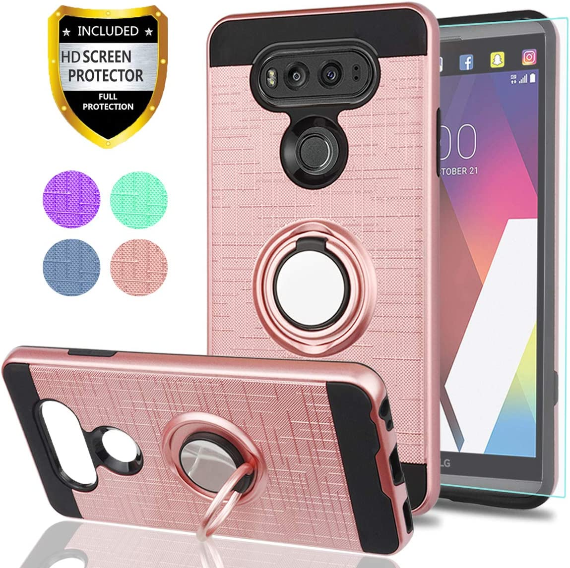 LG V20 Phone Cases,LG V 20 Case with HD Phone Screen Protector,Ymhxcy 360 Degree Rotating Ring & Bracket Dual Layer Resistant Back Cover for LG V20 (2016)-ZH Rose Gold
