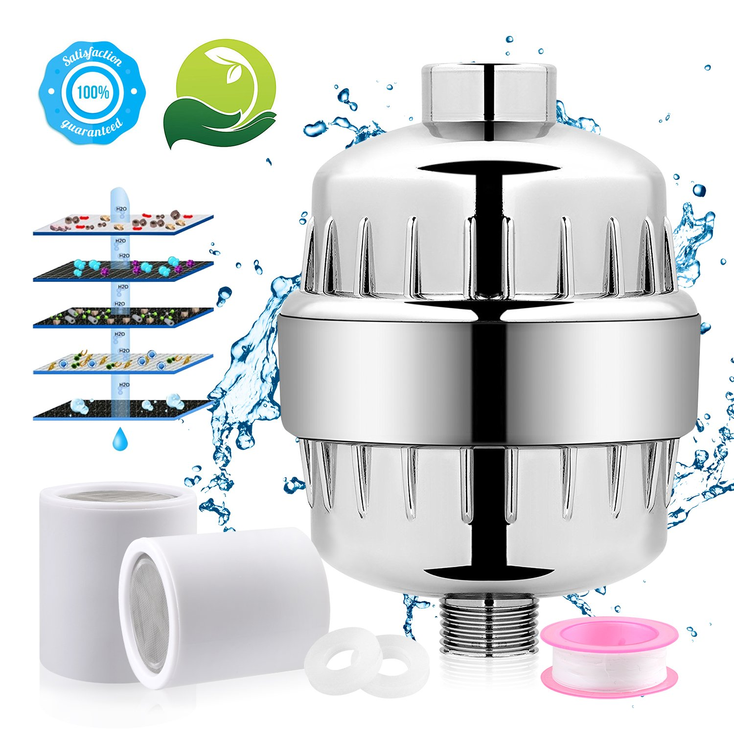 10 Stages Professional Shower Head Water Filter for All Shower Head, 2 Cartridges Included ¨CRemoving Chlorine, Heavy Metals, Impuriies and Unpleasant Odor, Prevents Hair & Skin Dryness