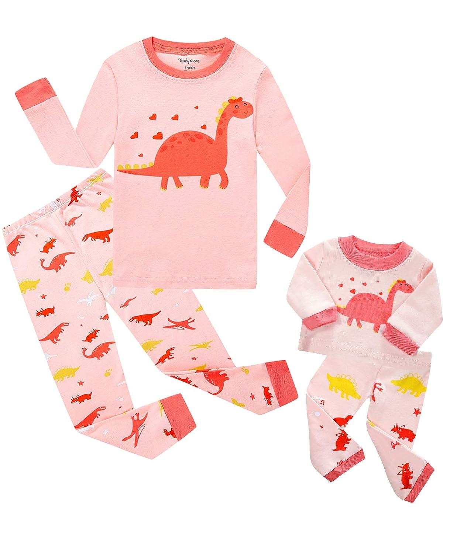 Babyroom Girls Matching Doll&Toddler 4 Piece Long Cotton Christmas Pajamas Kids PJS GHW-OWL-LG