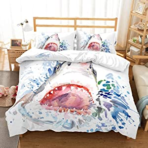 Feelyou Shark Duvet Cover Set Queen Size 3D Print Sea Animal Bedding Set Novelty Ocean Marine Microfiber Polyester Comforter Cover with 2 Pillow Shams, Zipper, Lightweight, Watercolor 3 Pieces