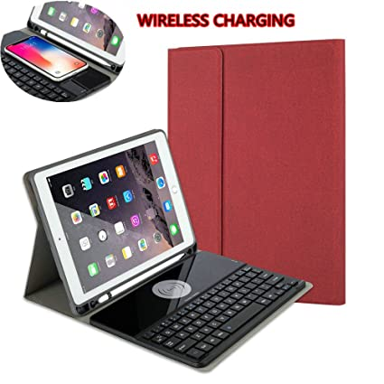 on sale b2462 ddbf9 Detachable Keyboard case for iPad Pro 10.5,Cover with Pencil Holder and  Wireless Charging,Slim Folio Business Style Leather Smart Keyboard Cover  for ...