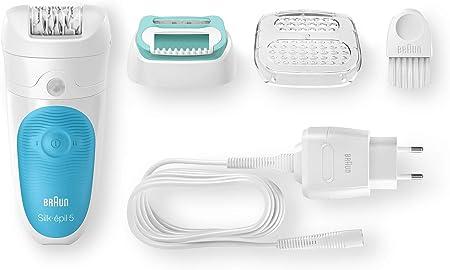 Braun  5-511 Silk-épil Wet & Dry - Depiladora eléctrica para mujer, inalámbrica y cabezal con recortadora, color blanco/azul