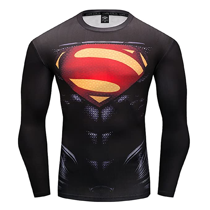 4cce4ae360 GYMGALA Superman Men Long Sleeve Fitness Compression Shirt (Small, Black)