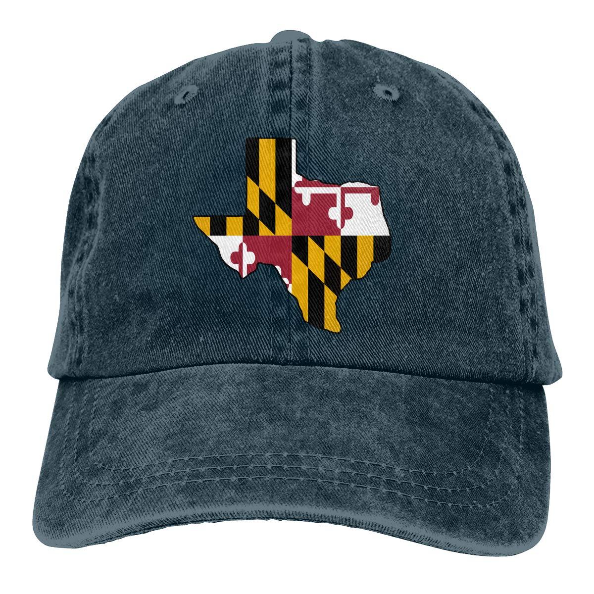 Texas Outline Maryland Flag Adult Trendy Cowboy Sun Hat Adjustable Baseball Cap