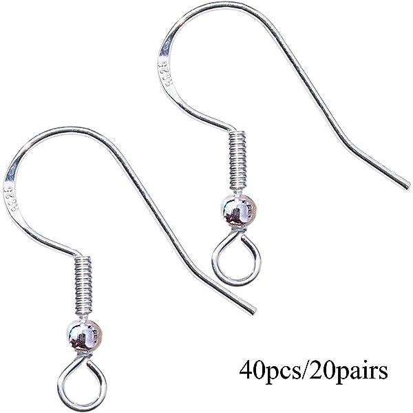 40pcs//20 Pairs 925 Sterling Silver Earring Hooks Fish Hook Earrings French Wire Hooks Jewelry Findings Earring Parts DIY Making