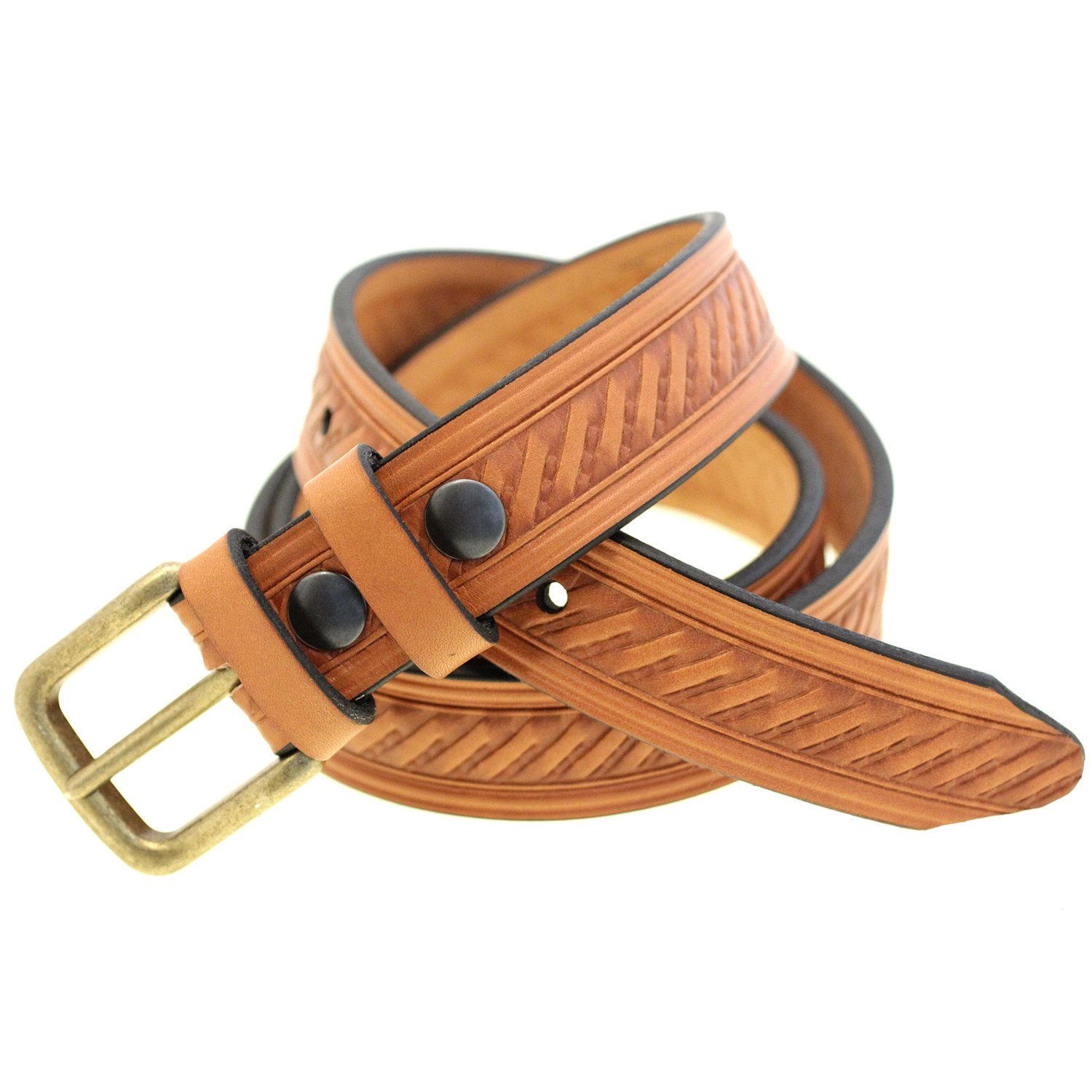 1 3//8 Light Brown English Bridle Leather Embossed Belt Old Brass Buckle