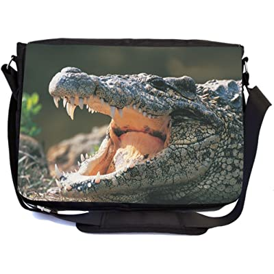 Rikki Knight Crocodile With Open Mouth Design Multifunction Messenger Bag - School Bag - Laptop Bag - with padded insert for School or Work - includes Pencil Case
