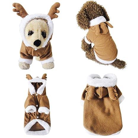 Mogoko Disfraz de Papá Noel para Perros y Gatos, Disfraz de Reno para Mascotas,