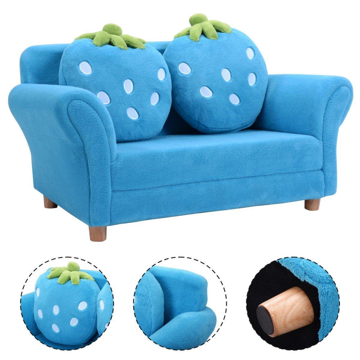 Canapé sofa enfant 2 oreillers meubles chambre d'enfant jeu confort repos rose/bleu (Rose) Blitzzauber24