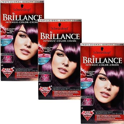 3 x Negro cabeza Brilliance 888 oscuros cereza Color del pelo – 147 ml