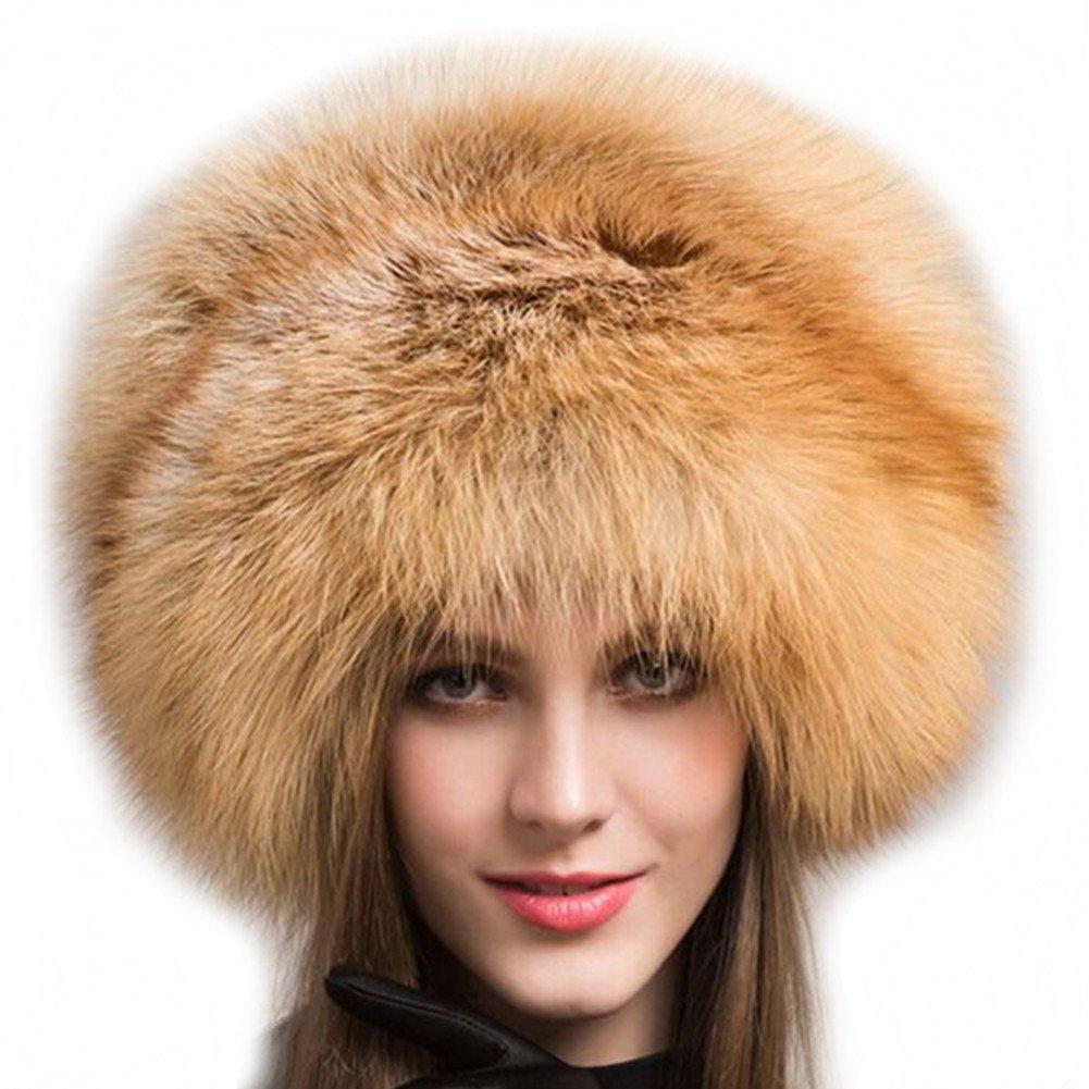 Valpeak Women's Genuine Fox Fur Hat with Tail Russian Style Protect Ears Winter Mongolian Hats (Orange)
