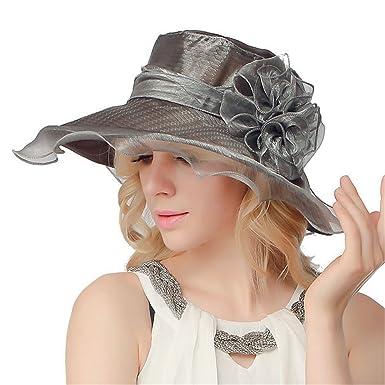 O N Women Organza Hat Summer Hat for Wedding Hats Wide Brim Sun hat Ascot  Race Derby Hat  Amazon.co.uk  Clothing faaae798d3cf