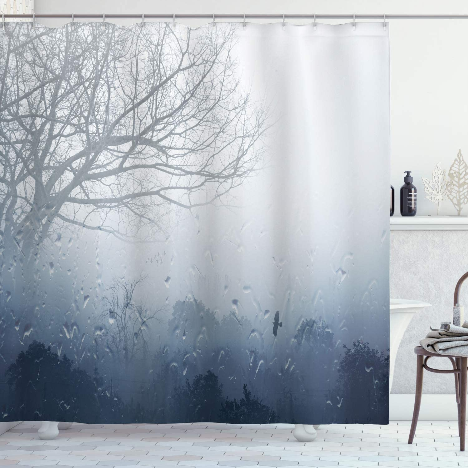 """Ambesonne Forest Shower Curtain, Raindrops Mystic Foggy Scenery Romantic Window Water Melancholia Therapy Lonely Tree, Cloth Fabric Bathroom Decor Set with Hooks, 70"""" Long, Gray Denim"""