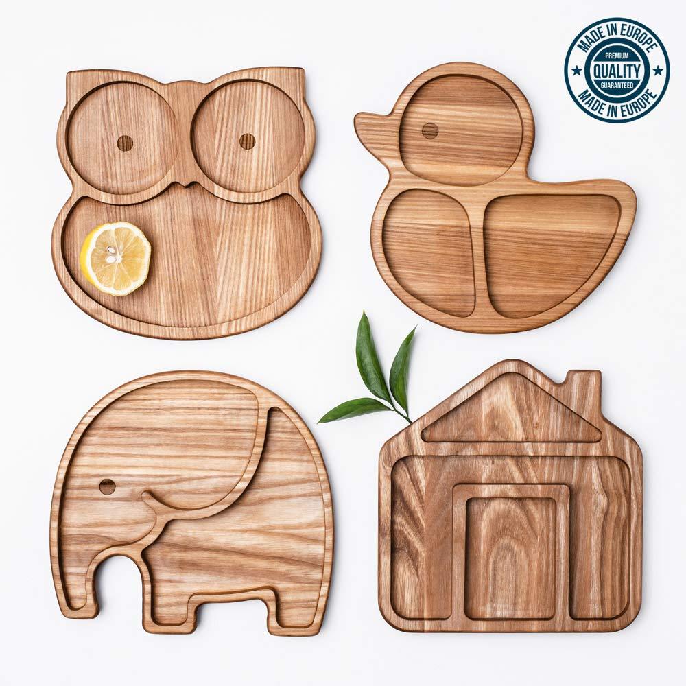 Phanty LELEKKA Kinder Holzteller aus Europa Baby Sch/üssel Dessertteller Kindergeschirr aus naturbelassenem Eschenholz Massivholz Kinderteller Schale