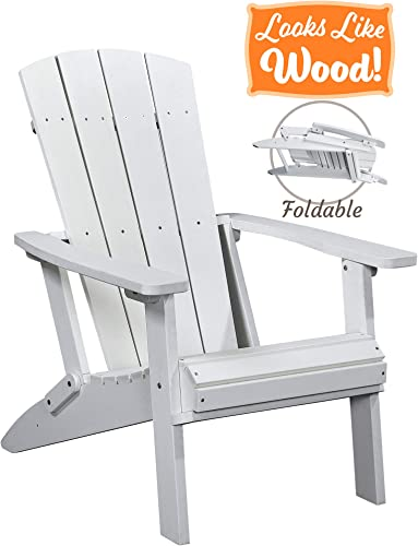PolyTEAK Modern Oversized Folding Poly Adirondack Chair, Powder White Adult-Size, Weather Resistant, Made from Special Formulated Poly Lumber Plastic