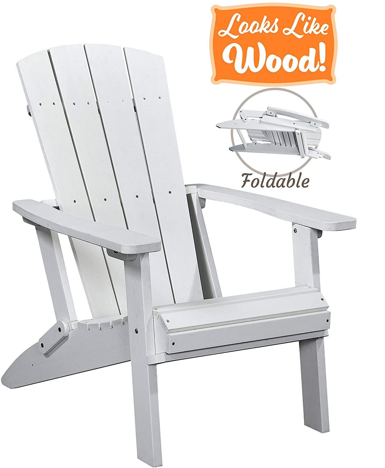 PolyTEAK Modern Oversized Folding Poly Adirondack Chair, Powder White Adult-Size, Weather Resistant, Made from Plastic