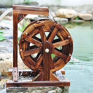 YXYOL Fengshui Wheel Water Wheel Windmill Water Ornaments,Water Wheel Fountain,Patio Garden Water Feature Fish Pond, Fish Tank, Rockery Decorative Pump,30Cm