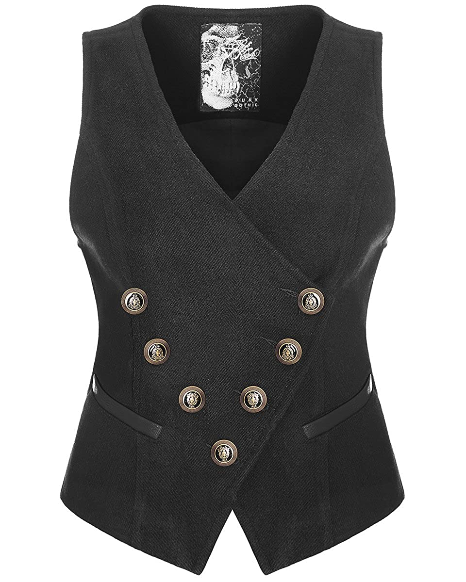 Punk Rave Womens Steampunk Waistcoat Vest Top Black Copper Gothic VTG Military