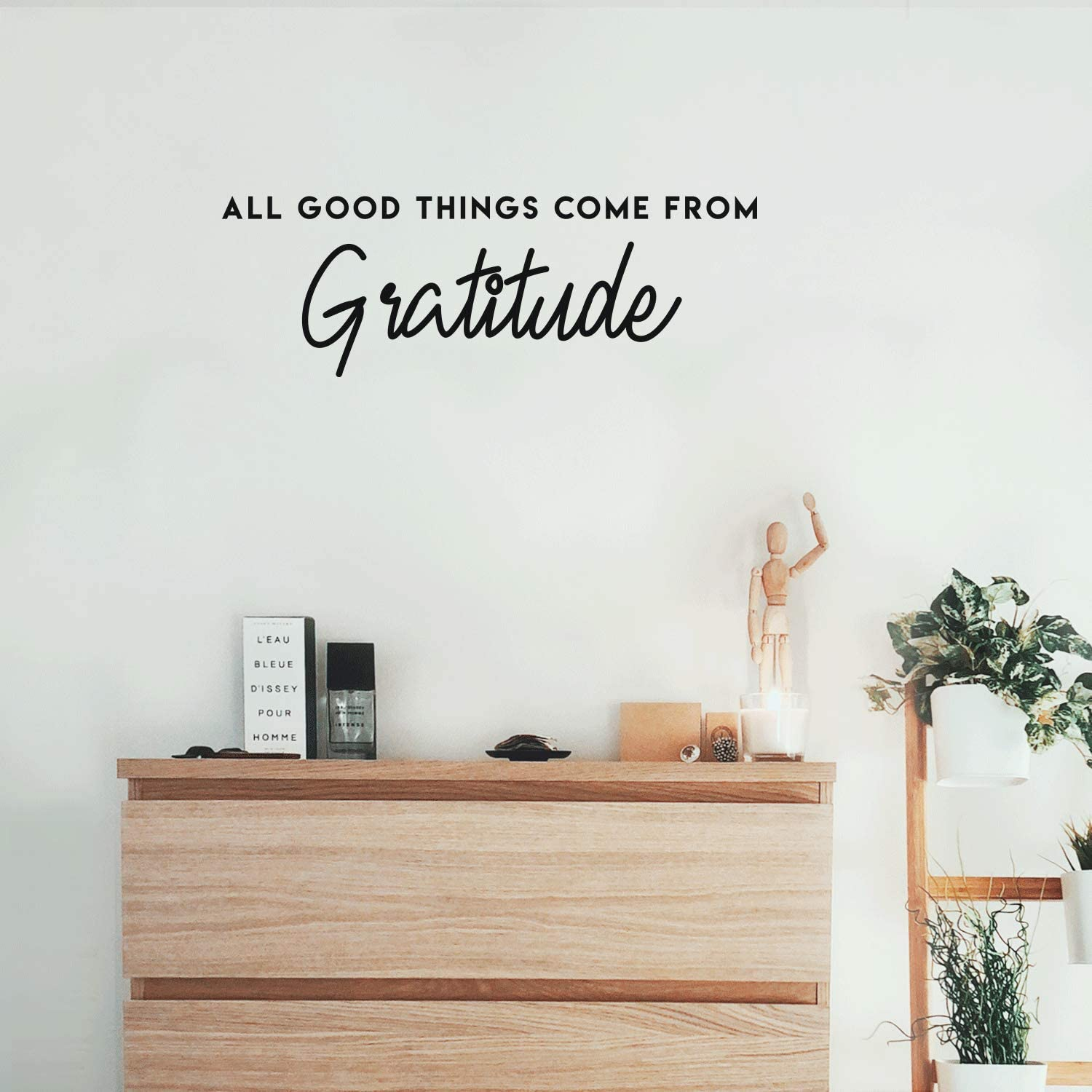 """Vinyl Wall Art Decal - All Good Things Come from Gratitude - 10"""" x 29.5"""" - Modern Inspirational Gratefulness Quote for Home Bedroom Living Room Office Workplace School Decoration Sticker (Black)"""