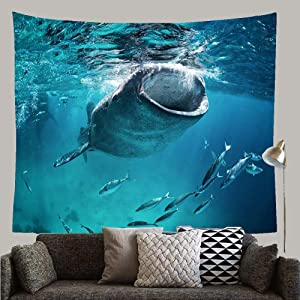 """Huayuanhurug Diving Blue Cebu Whale Shark Eating Fish Wildlife Nature Giant Mouth Open Tropical Design Custom Tapestry Wall Hanging Art Decoration for Bedroom Living Room Dorm, 59"""" X 51"""""""