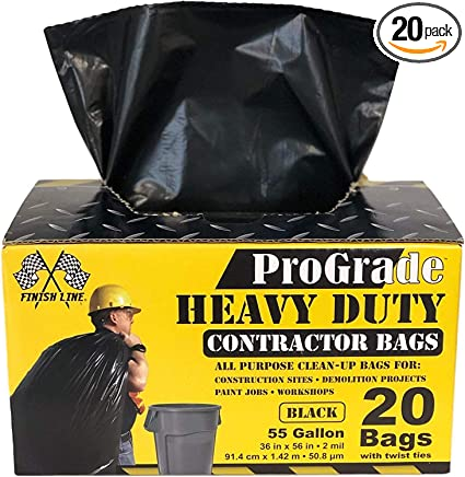 2 Mil Heavy Duty 40-45 Gallon Contractor Clean Up Trash Bags 50//Case.