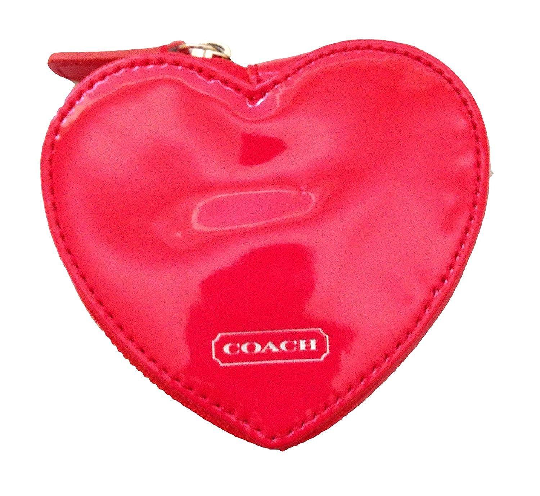 Coach Studded Liquid Gloss Heart Shaped Coin Purse Red Handbags