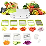 Mandoline Slicer,TAPCET Vegetable Cutter,Chopper,Grater & Julienne Slicer with 8 Interchangeable Stainless Blades(Green)