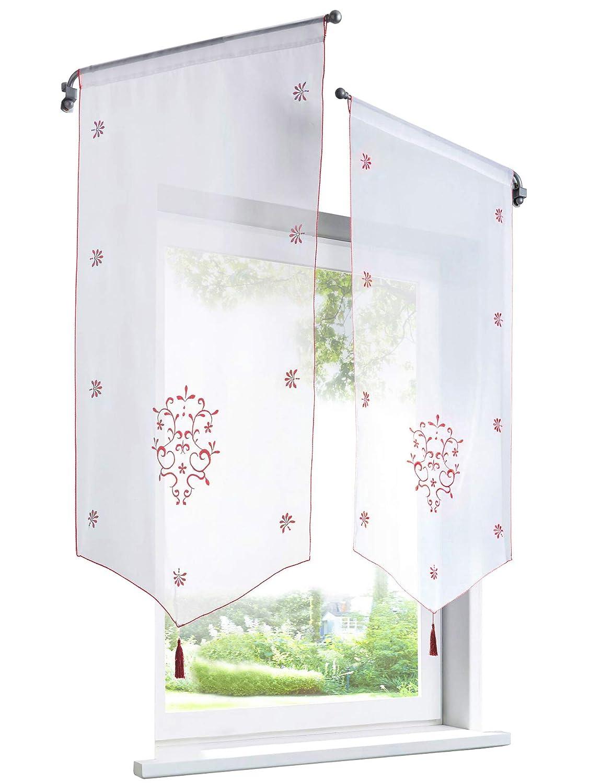 1Pièce Rideau Voilage Brise-bise en Polyester Broderie Fleurs avec Pompon Rideaux Courts Décoration de Fenêtre Chambre/Salle de Bain/Café / Cuisine (LxH/40x60cm, Blanc/Blanc) Bailey Jo