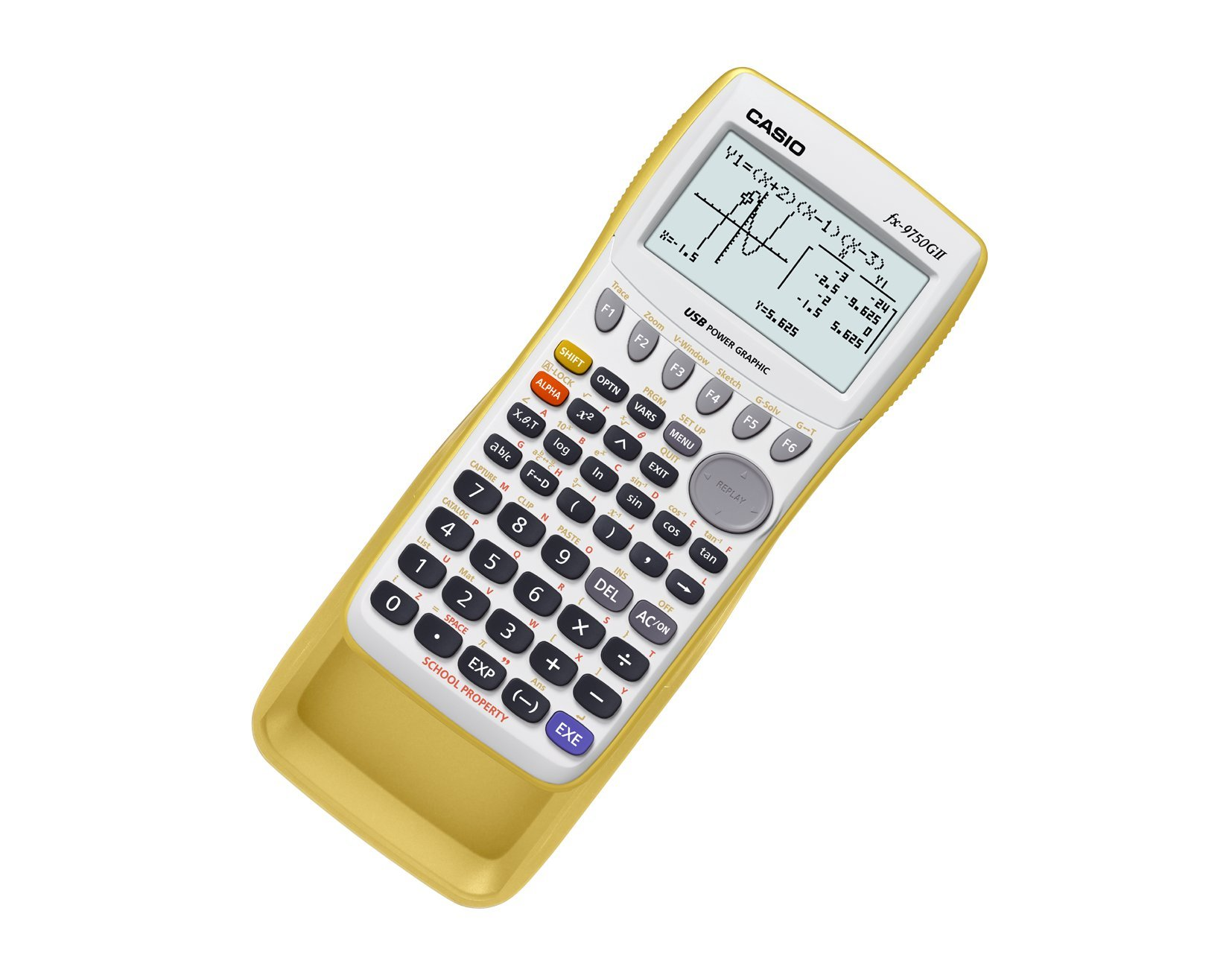 Casio fx-9750GII Graphing Calculator, Yellow