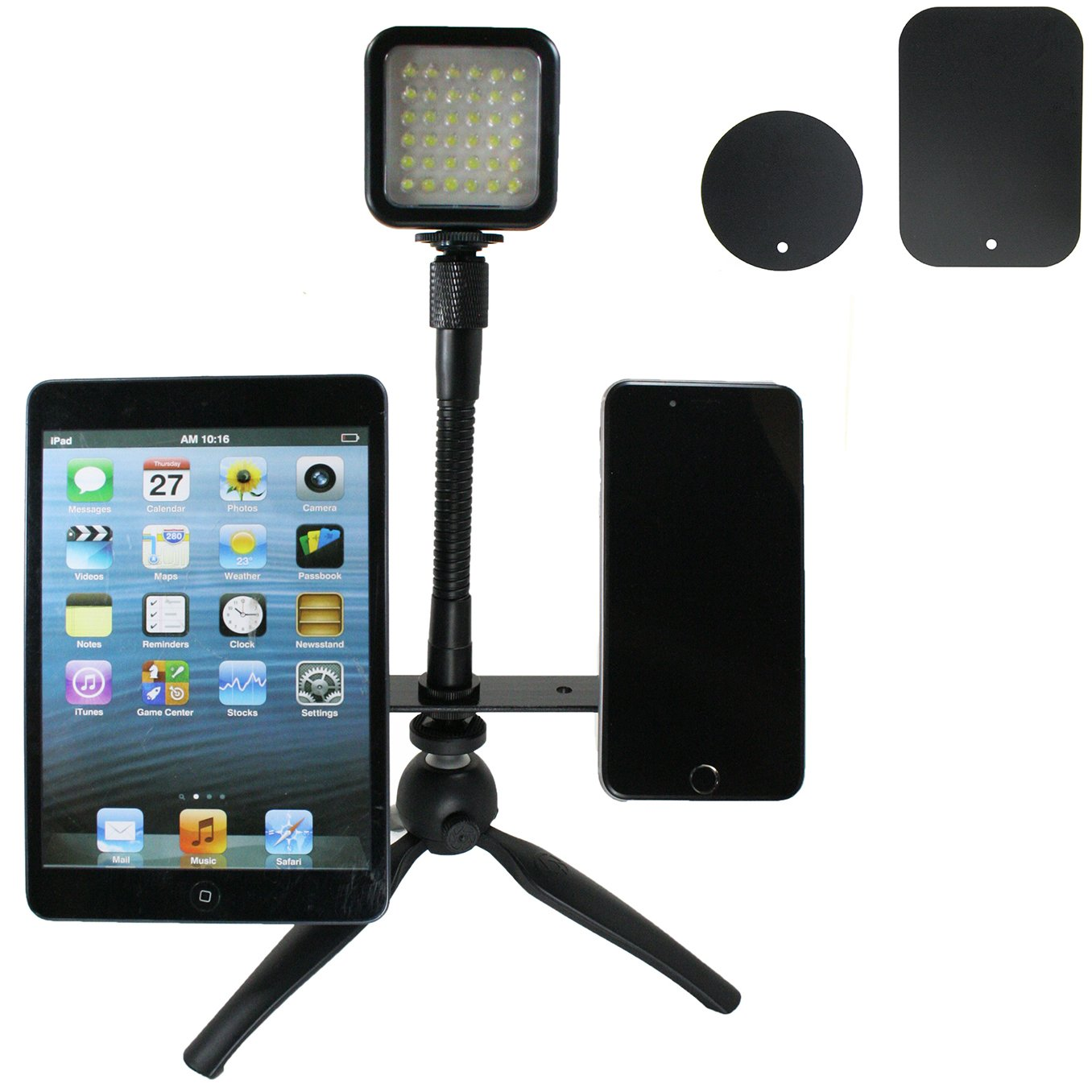 Live Stream Gear - Dual Phone and LED Light Live Stream Tripod Magnetic Mount System. Mount 2 Phones via Magnet and Metal Plate to This Tripod for Live Stream with LED Light. Strong Hold. (Black)