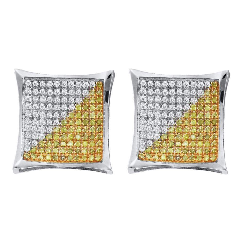 10KT White Gold Mens Round Yellow Diamond Square Kite Cluster Earrings 0.14 Cttw