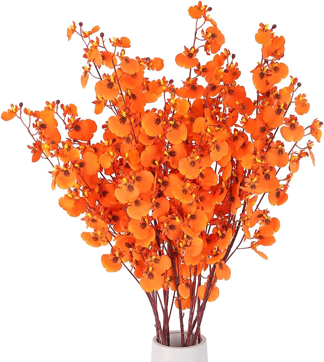 HANTAJANSS Artificial Orchids Flowers, 8 Pcs Orchids Silk Fake Flowers in Bulk Flowers Artificial for Indoor Outdoor Wedding Home Office Decoration (Orange)