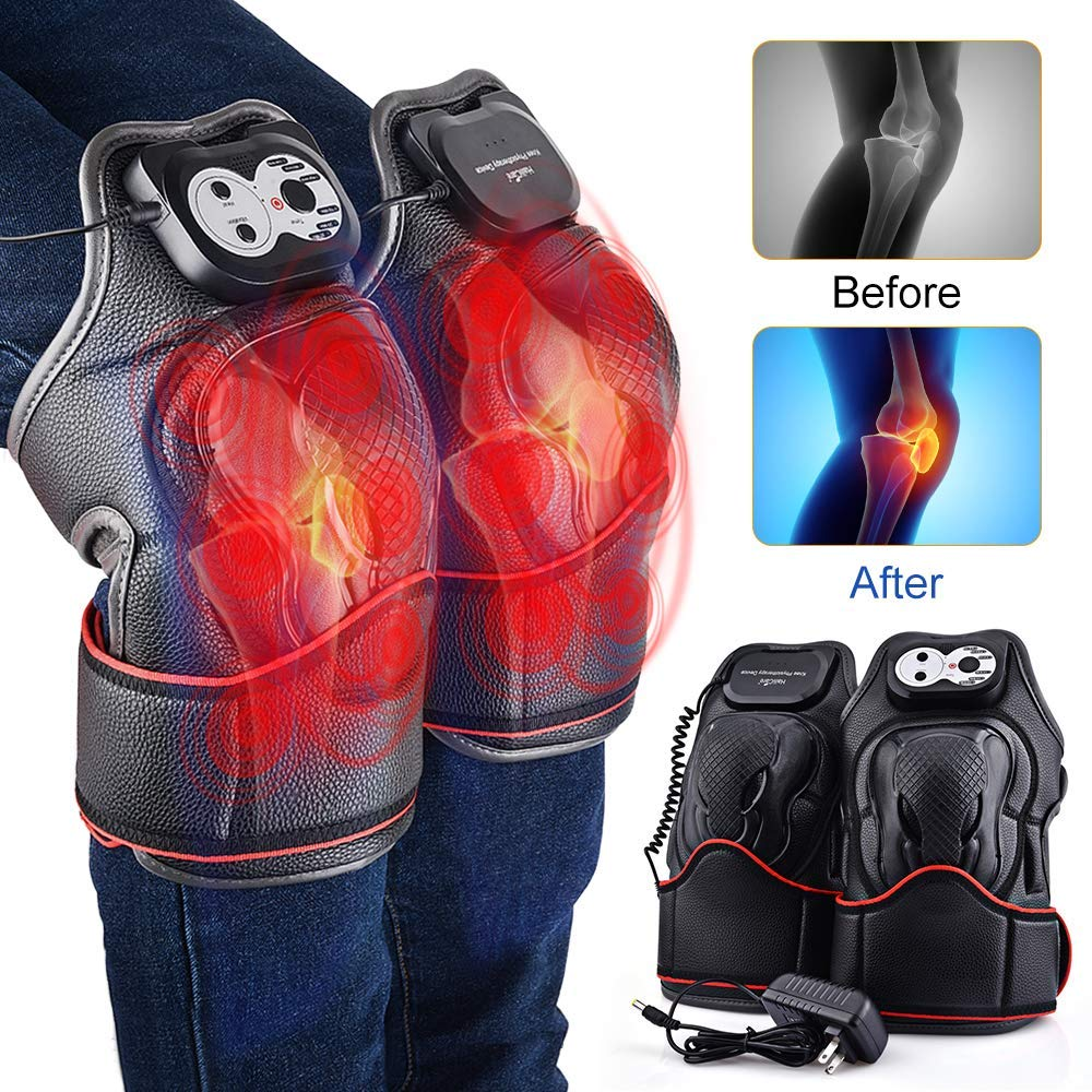 HailiCare Heated Knee Massager, Electric Knee Wrap Brace with Heat Vibration Massage Therapy Knee Warmer for Joint Muscles Arthritis Sports Injury Pain Relief – Ideal Gift for Parents and Families