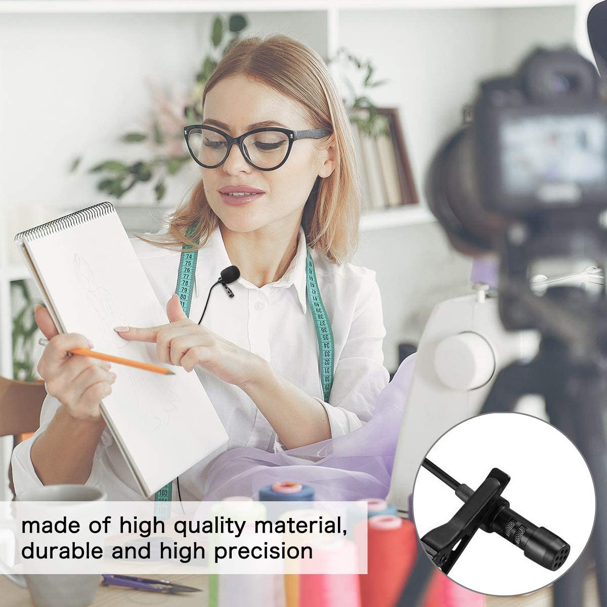 9.8ft Black Black Black Altson Ultra-Compact Clip Omnidirectional iPhone Microphone for iPhone7//8//xr//xs//11//Plus//Pro//iPad//iPod for Podcast//YouTube//Interview//Vlog//Video//Lecture Recording